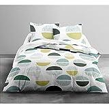 Today 016055 ONLY Parure de lit pour 2 Personnes Dessin Circulaire Polyester Blanc/Vert 240 x 220 cm