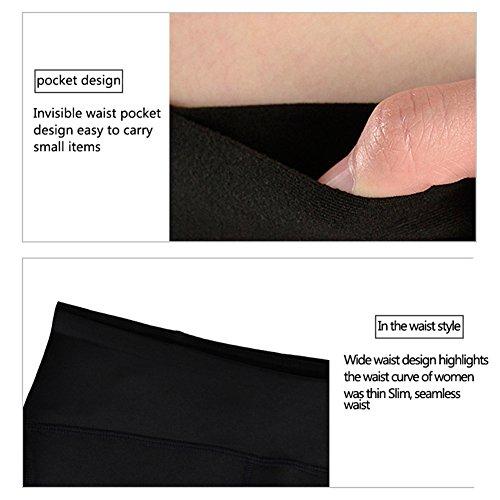 Moresave Femmes Compression Yoga Fitness Leggings Workout Yoga Collants de Running Tummy Pantalons de contrôle Noir