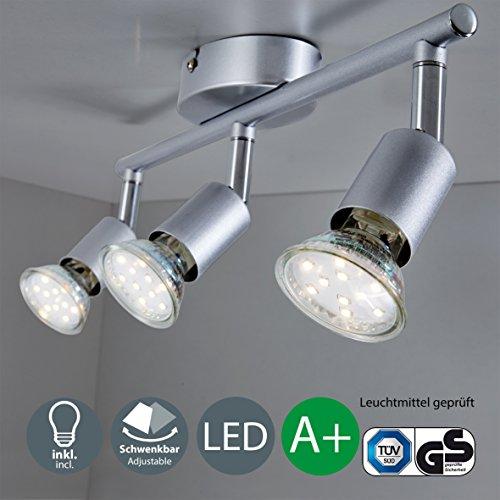 B.K.Licht LED Deckenleuchte 3xLED/GU10/3W