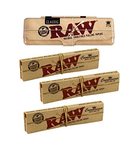 RAW KS Tin Blechdose für Longpapers inkl 3x Raw KingSize Slim Classic Connoisseur Papers und Tips