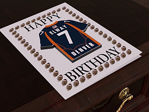 (NFL National Football League Geburtstagskarte, mit Trikot-Kühlschrank-Magnet Denver Broncos NFL Fridge Magnet Card A5 Fridge Magnet Birthday Card)