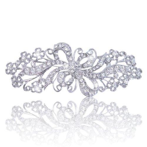 Ever Faith Austriaco di cristallo filigrana Bow sposa Spilla Cancella N02465-1