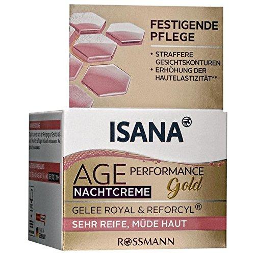 ISANA Age Performance Gold Nachtcreme 50 ml für sehr reife, müde Haut, Gelee Royal & Reforcyl®,...