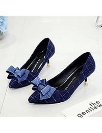 Xue Qiqi A la luz de la punta de los zapatos de tacón alto chica fina con pajarita, wild solo zapatos,37, azul