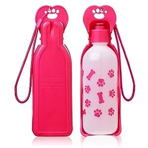 Anpetbest Dispenser d'Acqua per Cani distributore acqua 11 oz(325ML), cane acqua portabile animale domestico Travel Water Bottle Bowl bottiglia (rosa)