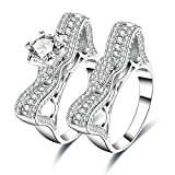 AmDxD Doppelring Set Versilbert Ringe Damen Diamant Form Zirkonia Katzenohr Ehering Silber Größe 57