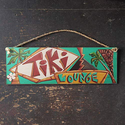 Zhaoshoping Vintage Retro Tiki Lounge Schild Hawaii Surf Art Tropical Beach Vintage mit Manila Seil Aufhänger Home Holzschild Funny Craft Wall Decor Plaque -
