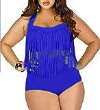 JQLampe Sommer Damen Große Größe Push Up Bikinis Zweiteiler Sexy Neckholder Bademode Two-piece Badeanzuege Einfarbig Swimwear mit Quaste Badebekleidung Beachwear