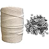 Krokio Candle Wick Thread Cotton roll 100 Gram with 100 Piece Wick sustainers for Candle Making