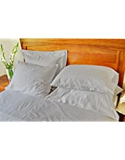 AVI Comfortable & Luxurious Microfiber Set of 6 Pillows with 100% Satin Striped Cotton 6 Pillow Covers
