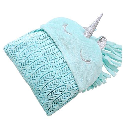 Einhorn Cozy Umhang für Erwachsene und Kinder Snuggle Decke Folienprägung Feather Pattern, blau,...