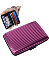 Porte-Cartes 2 faces lisses CB Carte Bleue Visite ALUMINIUM RIGIDE Security Credit Cards Wallet Holder *VIOLET*