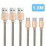 OTISA 3Pack 1.8m Nylon Micro USB auf USB Kabel High Speed USB 2.0 Datenkabel für Android Smartphones Samsung /HTC / Nokia/ LG