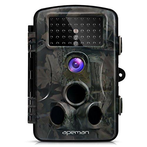 APEMAN Cámara de Caza 12MP y 1080P HD Trail Cámara con Gran Angular de 120° y 44pcs IR LEDs Visión Nocturna con hasta 20M Cámara de Fauna con Protección de Salpicaduras