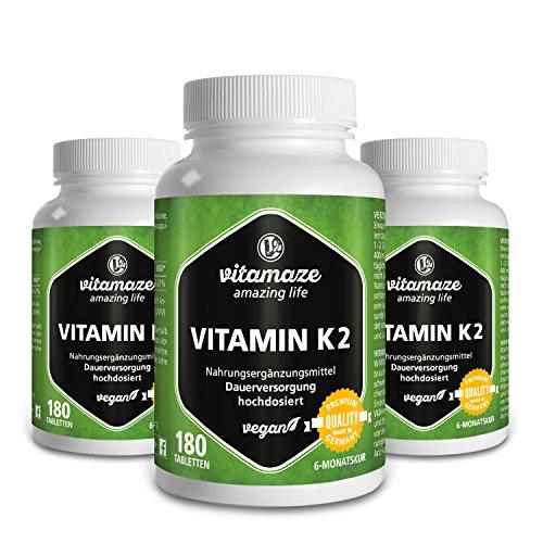 Calcium 500 Plus Vitamin (3 Dosen Vitamin K2 zertifiziert, hochdosiert 200µg MK-7 Menaquinon vegan 180 Tabletten 6 Monatsvorrat Qualitätsprodukt Made-in-Germany ohne Magnesiumstearat)