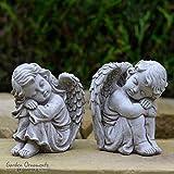 Garden Ornaments von onefold AS11Resting Engel Paar Small Stone Garden Statue, grau, 12x 11x 15cm