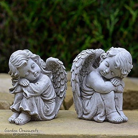 RESTING ANGELS PAIR - HAND CAST STONE GARDEN ORNAMENT /