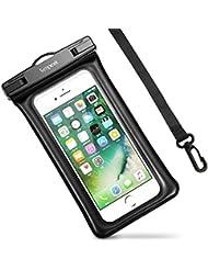 Bolsa estanca movil Universal 5.8 Pulgadas,Simpeak funda estanca bolsa impermeable movil funda sumergible Flotante para iPhone 7, 7 Plus,6 / 6s Plus, SE 5S 5C, Samsung Galaxy S8/S7/S7 Edge/S6/S6 Edge/Samsung J5, Huawei P10/P10 Lite/P9/P9 lite/P8 Lite, HTC LG Sony Nokia Motorola - Negro