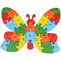 Blancho Wooden Block Animal Letter Figure Baby Early Childhood Puzzle Toy (Butterfly)