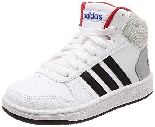 adidas Unisex-Kinder Hoops MID 2.0 Fitnessschuhe, Weiß (Ftwbla/Negbas/Escarl 000), 38 EU