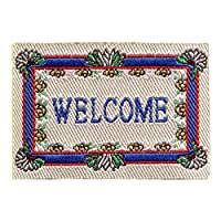 MyTinyWorld Dolls House Miniature 52mm Blue And White Welcome Mat (NW17)