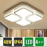 HG 48W LED Wohnzimmerlampe Deckenleuchte Warmweiss IP44 Modern Weiß Schlafzimmer Lampe Eckig Esszimmer Leuchte Büros Decks Küchenleuchte [Energieklasse A++]