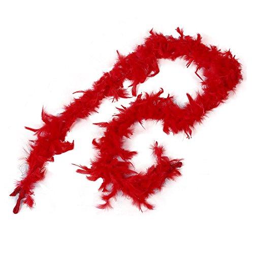 REFURBISHHOUSE 2m Boas De Pluma Mullido para Fiesta De La Boda para Traje De Vestido Arte De Decoracion para El Hogar (Rojo)