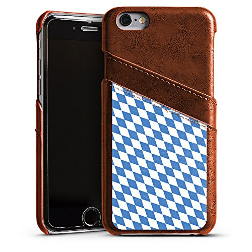 Apple iPhone 5s Housse Étui Protection Coque Drapeau bavarois Bavière Drapeau Étui en cuir marron