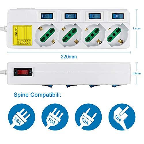 Ewent EW3932 Multipresa Elettrica a 6 Posti Ita//Schuko Interruttori Indipendent
