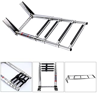 Amarine-made 4 Step Telescoping Swim Marine Boat Ladder Stainless with Built in Handle