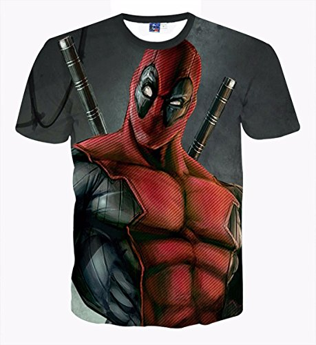 Men's 3D American Comic Deadpool Printed Tee Shirt 1