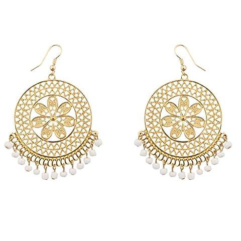 Lux Accessories - Boucles D'Oreille Florales Fleur Blanche Ornée De Perles À Franges