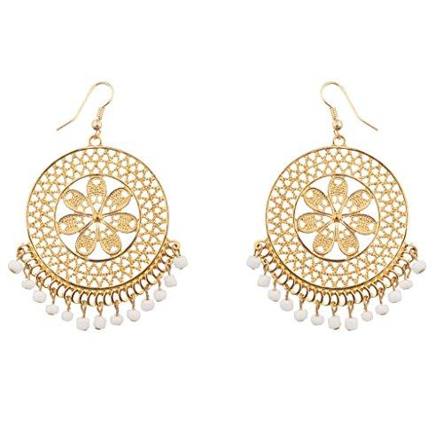 Lux Accessories - Blume Weiße Perlenbesetzte Blumen-Ohrhänger (Gefälschte Gold Modeschmuck)