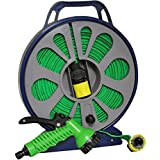 15M LAY FLAT HOSE IN CASSETTE WITH MULTI SPARY GUN AND FITTINGS LIGHT WEIGHT ESY TO STORE