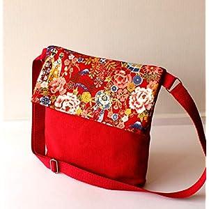¡¡Verkauf!! – Schulter-Tasche – Rot japanisch, handgefertigt in Leinwand und Baumwolle
