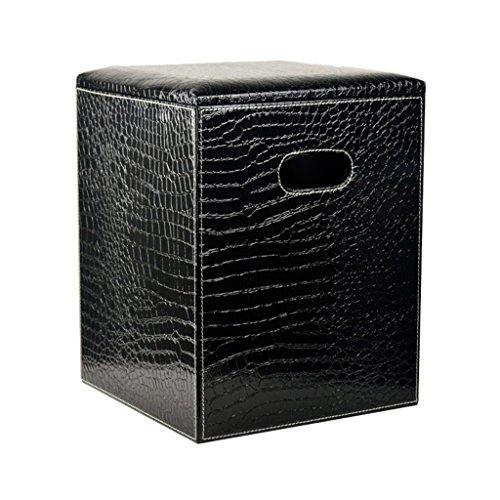 Tabouret de pied avec couvercle Pouf de rangement carré Pouf repose-pieds rembourré Siège en cuir PU Habillage du siège de maquillage pour couloir Salon en noir Max. 150kg 30X30X40m