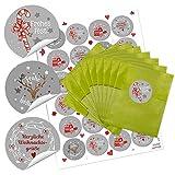 24 grüne kleine Papier-Tüten Weihnachtstüten Geschenktüten (9,5 x 14 cm) + 24 Weihnachts-Aufkleber in grau rot weiß Frohe Weihnachten (14127) Geschenk-Verpackung für give-aways