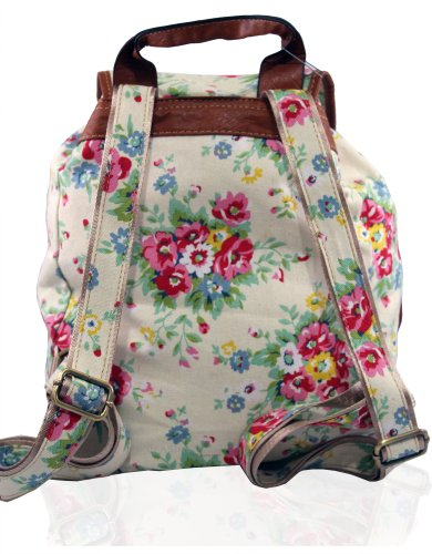 Kukubird POLKA DOT Backpack SPOTTY Rucksack School Bag Fiore bianco