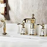 Hlluya Wasserhahn für Waschbecken Küche Alle Kupfer Split 4-teilig Badewanne Armatur 4-Loch Zylinder Kante Dusche Wasserhahn Dusche C