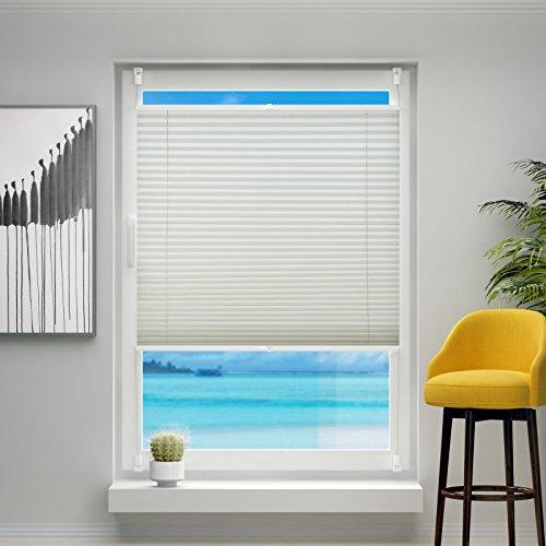 Beige Fenster (Plissee ohne Bohren, 85x120cm Plissee-Jalousie leicht zu montieren & verspannt mit Klemmfix für Fenster & Tür, Sichtschutz ohne Verdunkelung- Beige)