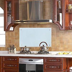 wolketon Küchenrückwand Spritzschutz Glas Klarglas Küchenrückwand für Küche, Herd, Fliesen viele Größen (Milchglas, 50x90cm)