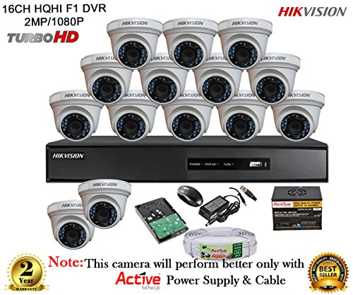 Hikvision Turbo Ds-7216hqhi-e2 16ch Dvr + Hikvision Ds-2ce56dot-ir Night Vision Dome Camera 14pcs+ 2tb Hdd + Active Cable + Active Power Supply (full Combo)