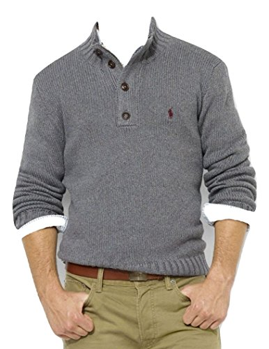 Ralph Lauren Pullover, Men's Zip Collar Cable Knit Sweater, Medium (Cable Knit Lauren Sweater Ralph)