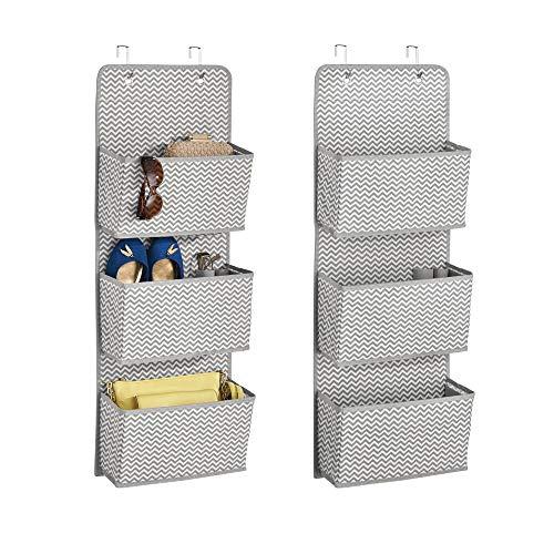 mDesign 2er-Set Türgarderobe mit 3 Taschen - Hängeaufbewahrung für Schuhe, Taschen, Tücher und mehr - Taschengarderobe zum Hängen - grau/creme
