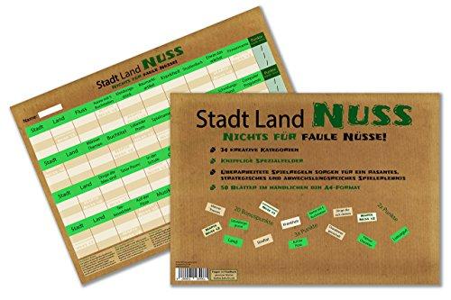 Stadt Land Nuss, das kreativste Stadt Land Fluss aller Zeiten, Spiele-Block im handlichen Din A4-Format mit 34 Kategorien Fluss Menschen