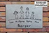 Familienschild /Namensschild / Türschild in Edelstahl gebürstet, in der Größe 250x200mm, selbstklebend, mit Bohrungen oder mit Abstandhalter lieferbar