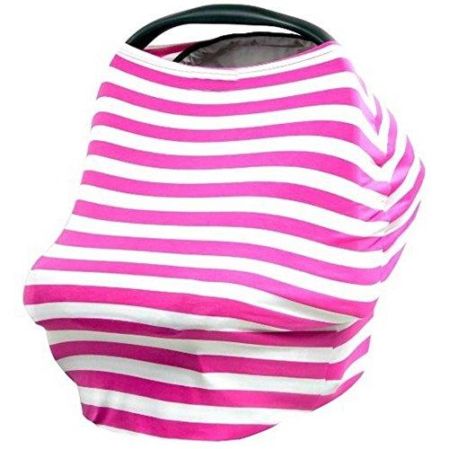4 en 1 Auto pour bébé infantile d'allaitement Housse de siège Housse de siège de voiture Canopy Rose à rayures bébé Canopy Shopping Cart Housse