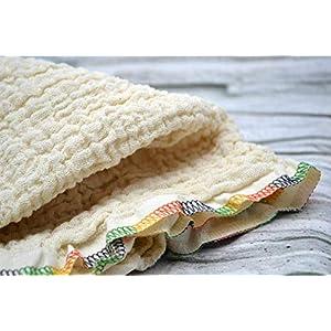 Mulltuch aus Bio-Baumwolle, Halstuch, Spucktuch, Stoffwindel, Babys, Frühchen, Kinder, Musselin, Mädchen, Junge creme, beige, natur, bunte Naht