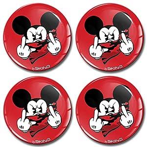 Skino 4 x 55mm Aufkleber 3D Gel Silikon Autoaufkleber Stickers Micky Maus Mittelfinger Felgenaufkleber Für Radkappen Nabenkappen Nabendeckel Auto Tuning Andere Größe A 3555