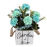 Flikool Hortensie Künstliche Blumen mit Holztopf Gefälschte Künstliche Pflanzen mit Topf Topfpflanzen Bonsai Hydrangea Kunstblumen Kunstpflanzen - Blau Blumen mit Square Weiß Pot